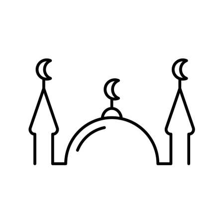 Muslim mosque. Linear religious icon. Black simple illustration of islam, house for prayers with two minarets. Contour isolated vector emblem on white background