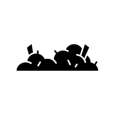 Silhouette Dust heap. Pile with sticking hair, small debris. Outline black icon of house mud or litter. Flat isolated vector illustration, white background. Cartoon abstract rubbish with wreckages Иллюстрация