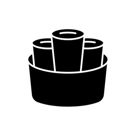 Silhouette of Thai Rolled Ice Cream. Outline icon of stir-fried ice cream. Black simple illustration of three dessert rolls in round basket. Flat isolated vector logo on white background