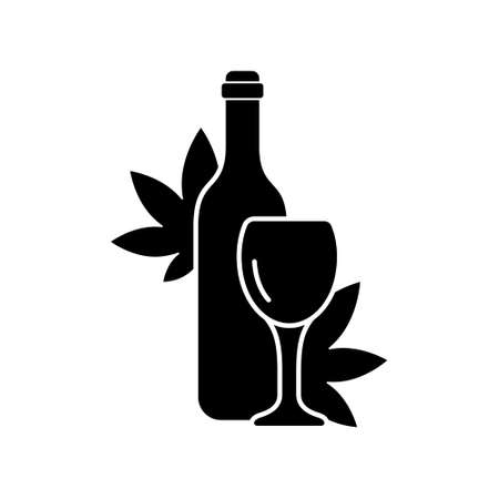 Cannabis wine silhouette logo. Outline alcohol icon. Black illustration of bottle with glass, marijuana leaf. Flat isolated vector emblem on white background. Design for package, shop, menu, wine list 向量圖像