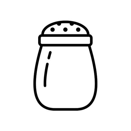 Salt shaker. Linear icon of kitchen utensils, spice jar. Black simple illustration of perforated container for sprinkling salt. Contour isolated vector emblem, white background