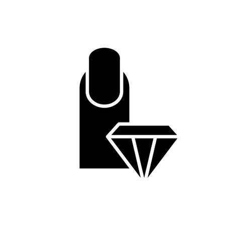 Finger with manicure, crystal. Silhouette icon. Nail Strengthener. Black illustration of nail care, treatment. Flat isolated vector, white background. Emblem for packaging design, beauty salon service 向量圖像