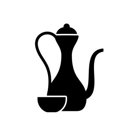 Silhouette Arabic jug with cup. Tea set cutout icon. Outline black illustration of antique pitcher for coffee. Kettle with long thin spout, bowl. Flat isolated vector emblem, white background