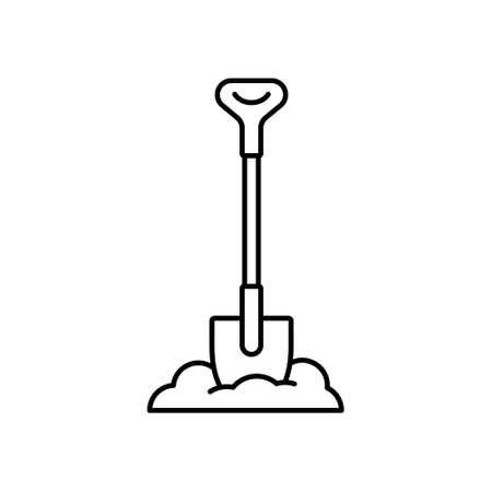 Bayonet shovel stuck in pile of earth. Linear heap of soil and digging tool. Black simple illustration of gardening, uproot, excavation, bury. Contour isolated vector icon on white background