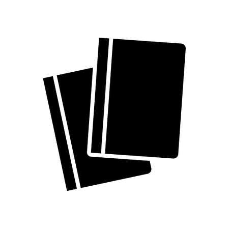 Paper stationery silhouette icon. Two books, textbooks, sketchbook or notebooks. Outline black illustration of reading, knowledge, education, exercise. Flat isolated pictogram, white background