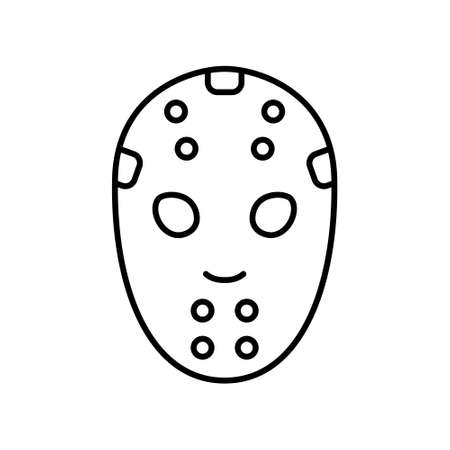 Hockey Mask. Linear icon of professional sports equipment. Black simple illustration of horror movie mask for halloween party. Contour isolated pictogram, white background