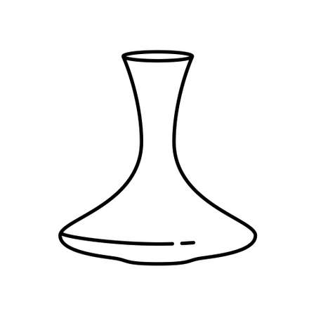 Decanter. Linear icon of glass vessel for red wine. Black simple illustration of elegant large jar for wine tasting. Contour isolated vector pictogram, white background 向量圖像