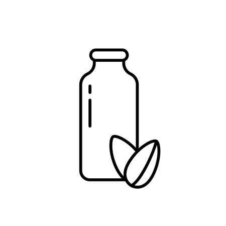Almond milk. Linear vegetable drink . Bottle with two seeds. Black simple illustration of organic food, alternative to dairy products. Contour isolated vector icon on white background