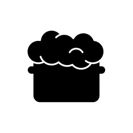 Silhouette Saucepan with raw puffed dough. Outline icon of cooking, kneading dough. Black simple illustration of homemade bakery product, baking bread. Flat isolated vector pictogram, white background 向量圖像