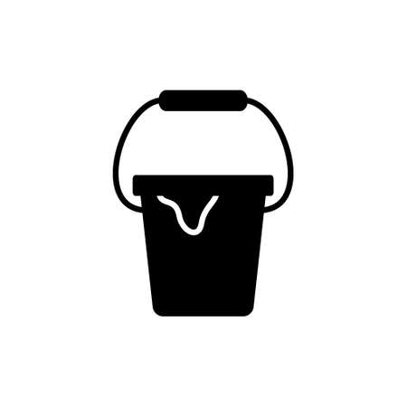Silhouette tin with drips of paint and handle. Outline icon of paint can. Black simple illustration of painting works, repair. Flat isolated pictogram, white background