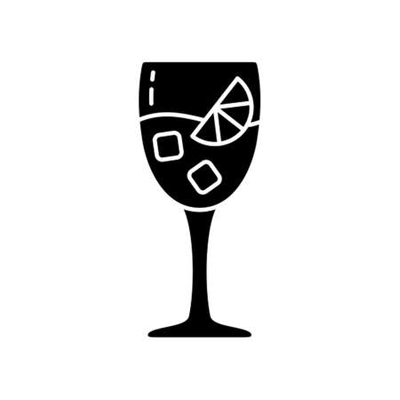 Outline icon of glass with alcoholic cocktail. Black simple illustration of drink with orange slice and ice cubes. Flat isolated vector pictogram, white background 向量圖像