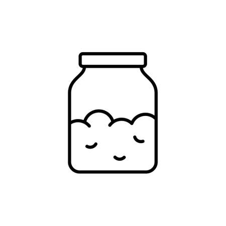 Sourdough or yeast starter in jar. Linear icon of kitchen glass bottle with dry powder, cooking ingredient. Black pictogram of groats, salt, sugar, oatmeal or cereal. Contour vector, white background