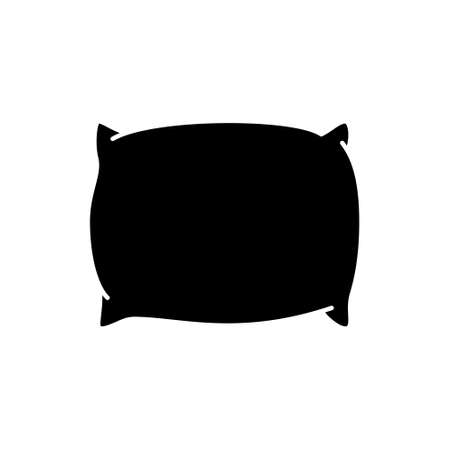 Silhouette Plump pillow for sleeping. Symbol of bed, home cozy interior. Outline icon of night sleep and rest. Black simple illustration.