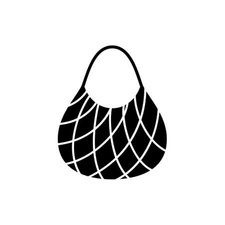Silhouette String market bag. Outline icon of reusable shopping bag. Black illustration of eco friendly accessory, knitting pattern. Zero waste theme. Flat isolated vector pictogram, white background