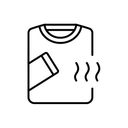 Thermal, compression or breathable underwear. Linear icon of long sleeve t shirt with air waves. Black simple illustration of clothes to keep comfortable temperature. Contour isolated pictogram