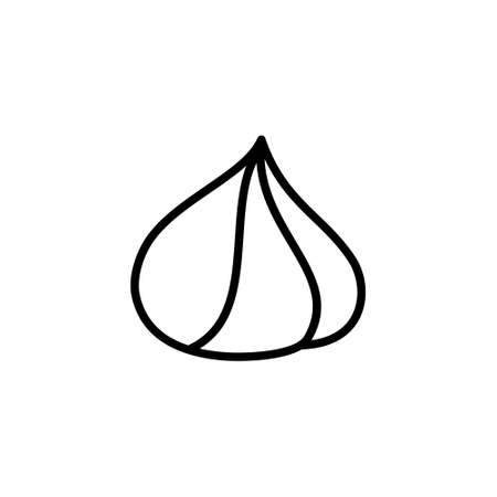 Whipped cream. Linear icon of cone-shaped decorative element for dessert. Black simple illustration for menu cafe, confectionery. Contour isolated vector pictogram, white background