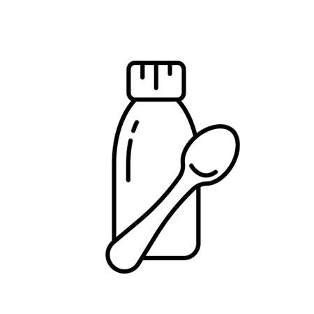 Cough syrup with teaspoon. Bottle of mixture, linctus or liquid medicine with measuring spoon. Black linear icon of baby treatment, dose of medication. Contour isolated vector emblem, white background