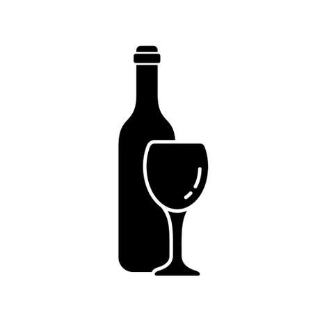 Silhouette wine bottle with glass. Outline alcohol icon. Black illustration of classic drink set. Flat isolated vector, white background. Drunkenness emblem. Design for package, shop, menu, wine list 向量圖像