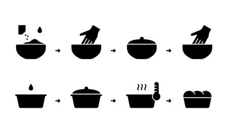 Homebaked bread, silhouette instruction. Baking process with kneading dough, second rise. Dry instant yeast, flour, oil, water, bowl, cake pan, hand. Outline icon. Black flat vector illustration 向量圖像