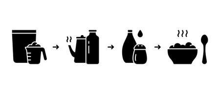 Steps to get homemade cereal, oatmeal. Instruction for making instant porridge. Silhouette cooking scheme for packaging. Brewing or boiling flakes with salt, topping. Flat vector, black outline icons
