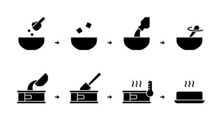 Silhouette instruction of Baking mix. Steps for cooking homemade biscuit, muffin, bread. Dry powder, butter, milk, bowl, cake pan, spatula, oven. Outline icons set. Black flat vector illustration Vettoriali