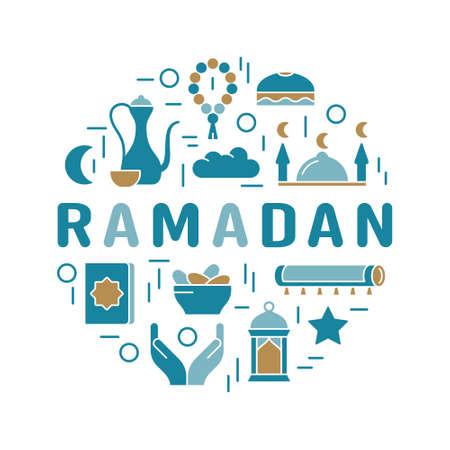 Ramadan Kareem. Traditional symbols of Islamic fasting. Color round print with lettering. Silhouette muslim emblem. Koran, mosque, rosary, prayer hand, rug, moon, lantern. Flat isolated vector icons 向量圖像