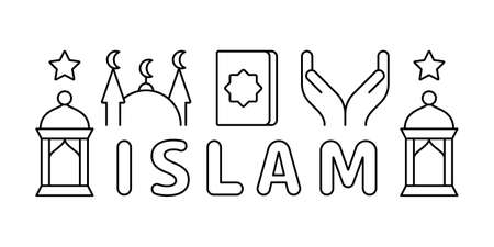 Linear horizontal banner of Islam. Black graphic poster with muslim icons, text. Koran, mosque, prayer hand, star, lantern. Pictogram set. Contour isolated vector illustration, white background