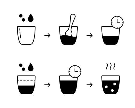 Sourdough silhouette instruction. Steps to get homemade bread starter. Flour, water, glass, spoon. Preparatory process for further baking. Outline icons set. Black flat vector, isolated illustration