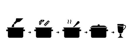 Mulled wine silhouette instruction. Outline icon of saucepan, bottle, spices set, orange, spoon, glass. Basic steps of preparation homemade hot drink. Cooking process on stove. Black flat vector signs