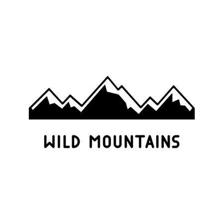 Wild snowy mountains with lettering. Black simple illustration of winter nature, highlands, extreme sports. Graphic cutout silhouette for t shirt print. Contour vector emblem, white background 向量圖像