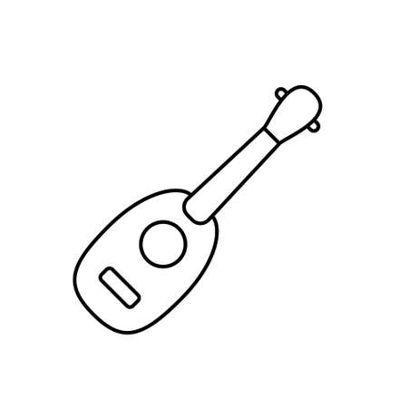 Ukulele pineapple shape. Linear icon of small guitar without strings. Black simple illustration of musical instrument. Contour isolated vector pictogram on white background Stock fotó - 155369154