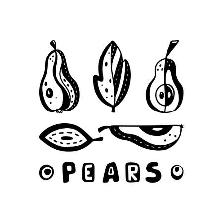 Set of different pears, leaves and text. Abstract image of summer fruits. Vegan poster with cartoon silhouette icons. Silkscreen stamp template. Black doodle vector illustration, white background