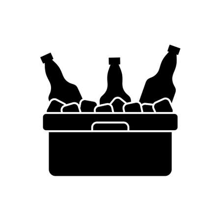 Refrigerator cooler box with bottles, ice cubes. Silhouette icon of plastic container for beach party, picnic, barbecue. Black pictogram of thermobox for drinks. Flat isolated vector, white background