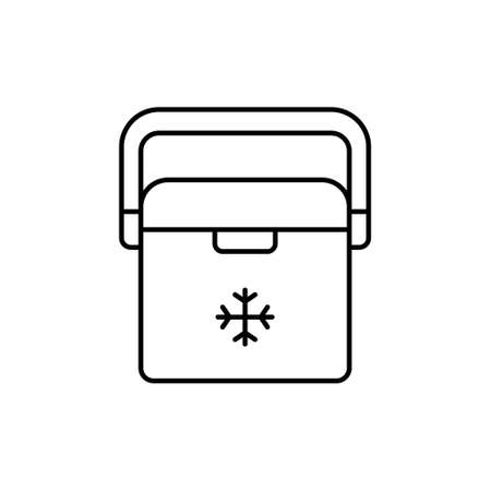 Portable Refrigerator Cooler, ice box. Linear icon of auto container for camping, picnic, barbecue. Black simple pictogram of plastic thermobox with handle. Contour isolated vector on white background