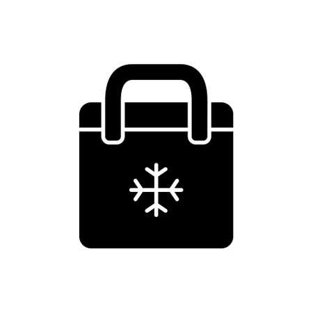 Silhouette Bag refrigerator. Outline icon of picnic cooler bag. Black simple illustration of plastic or textile thermobox with snowflake. Flat isolated vector pictogram on white background 向量圖像
