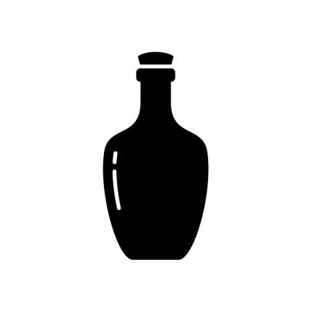 Silhouette Bottle of cognac, rum or liquor. Outline icon of alcohol, beverage. Black simple illustration of rounded glass bottle. Flat isolated vector pictogram, white background Stock fotó - 155369176