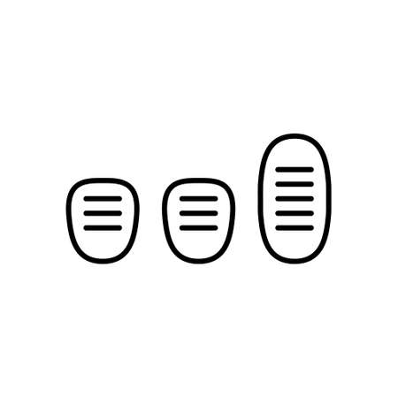 Three car pedals. Linear icon of Manual Transmission. Black simple illustration of clutch, gas, brake. Contour isolated vector pictogram on white background