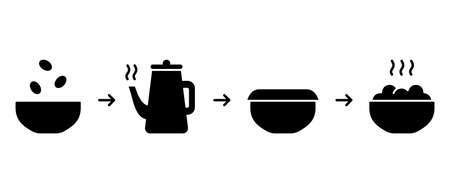 Process of cooking porridge, soup, cereal, oatmeal, puree. Brewing dry ingredients in bowl with boiling water. Instant food silhouette instruction. Icons for packaging. Black flat vector illustration 向量圖像