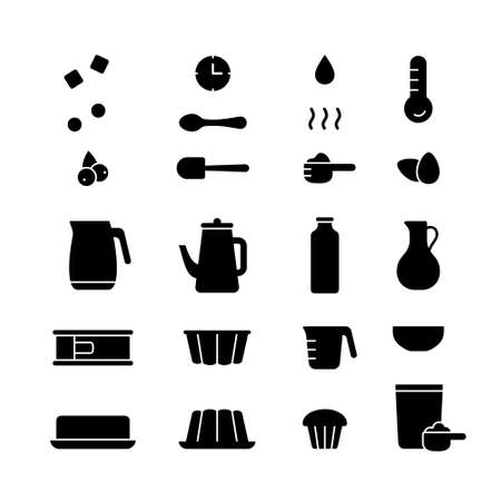 Cake mix, silhouette icons set for packaging, cooking recipe. Outline pictograms for baking muffin, cupcake, pudding from dry powder. Homemade pastry product. Black emblem. Flat isolated vector 向量圖像