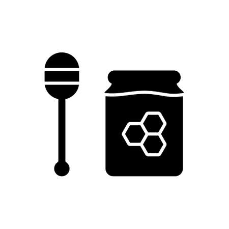Silhouette Honey set. Outline icon of spoon, jar with honeycomb. Black simple illustration of healthy sweets. Flat isolated vector pictogram on white background
