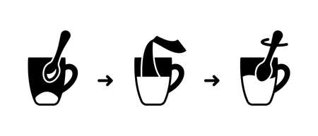 Standard instruction for Instant coffee, tea preparation. Process of making drink with water in mug. Outline silhouette icons set for packaging of medicine powder, soluble drug. Contour black vector