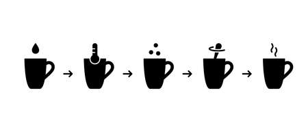 Silhouette icons set. Steps for making cocoa with milk. Chocolate Drink Mix instruction. Cup, drop, dry powder, spoon, thermometer, hot jet of steam. Cooking process. Black flat vector illustration