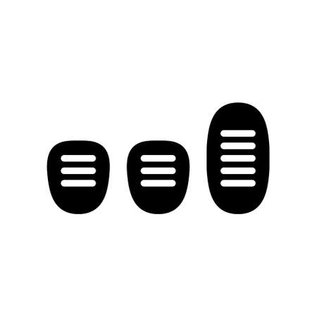 Silhouette set of Three car pedals. Outline icon of Manual Transmission. Black simple illustration of clutch, gas, brake. Flat isolated vector pictogram on white background