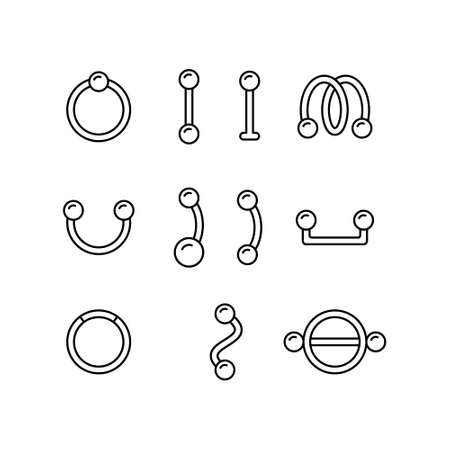 Piercing, set of different earring. Linear icon of barbell, ring, surface bar, labret stud, nipple shield, twister. Black simple illustration. Contour isolated vector pictogram, white background