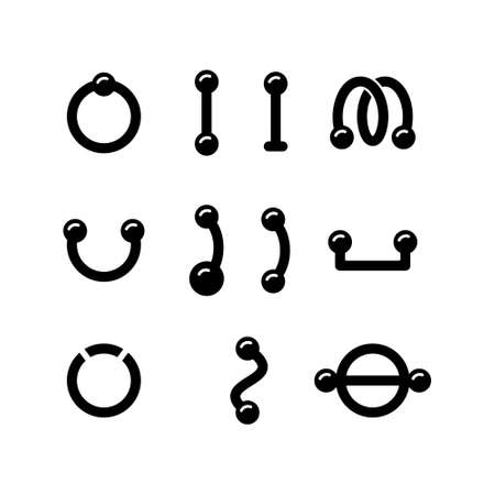 Piercing, set of different silhouette earring. Outline icon of barbell, ring, surface bar, labret stud, shield, twister. Black simple illustration. Isolated vector pictogram, white background