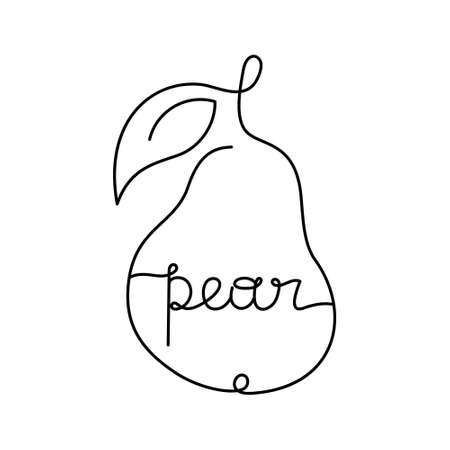Stylized pear contour with freehand lettering inside. Drawing of fruit and text, black one continuous line. Minimalism hand drawn vector illustration. Thin linear isolated icon on white background 向量圖像