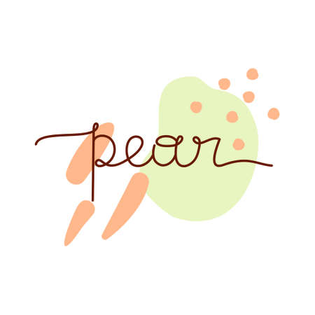 Pear freehand lettering on abstract colorful background with spots. Print, poster, stamp for label, bag, card. Hand drawn vector illustration. Thin line drawing 向量圖像
