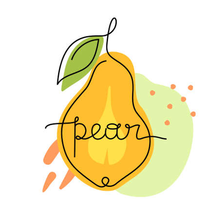 Yellow pear with green leaf, freehand lettering. Print, poster, stamp for bag, card. Drawing with black one continuous line, abstract colorful background with spots. Hand drawn vector illustration