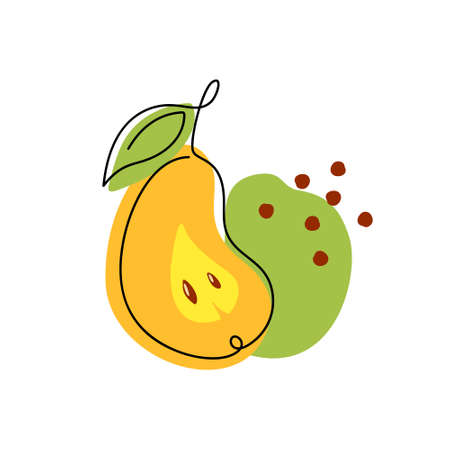 Pear print. Color drawing with black one continuous line, abstract decorative spots. Stylized hand drawn illustration of summer fruit. Thin linear isolated vector, white background. Yellow, green