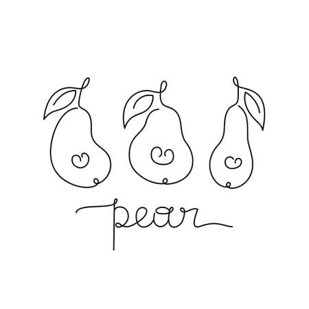 Pears contour with freehand text. Horizontal print, poster, stamp. Drawing with black one continuous line. Hand drawn vector illustration of summer fruit. Thin linear, white background. Outline label